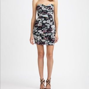 BCBG strapless floral mesh rushed Winnie dress
